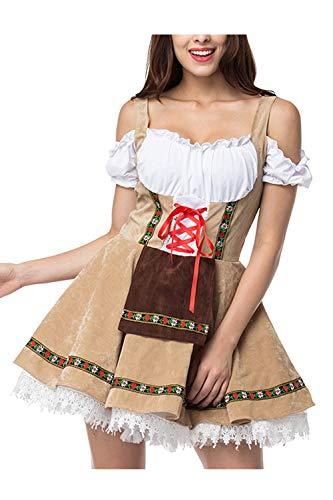 YACUN Deutschen Damen Dirndl Kleid Kostüme Bayerische Oktoberfest Bier Khaki S