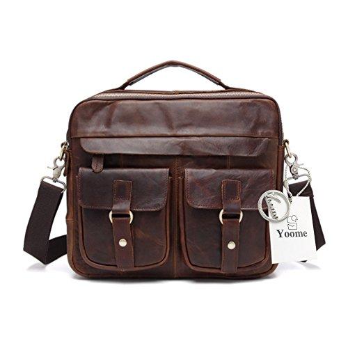 Yoome Hommes solide en cuir véritable sac d'ordinateur portable serviette sac à bandoulière sac à main Vintage