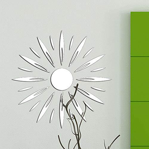 Diy Sonnenbrille Wandaufkleber, Acryl Wandtattoo Wandaufkleber zeitgenössische Silber 3D Sun Hintergrund Kunst Dekor