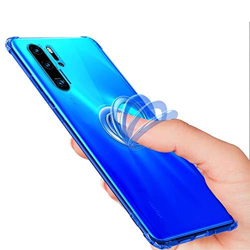 IRONB per LG G8s ThinQ Cover,Cristallo Antiurto Trasparente Custodia con Pop-up Anello Supporto Adatto per Supporti Magnetici da Auto Custodia per LG G8s ThinQ Smartphone
