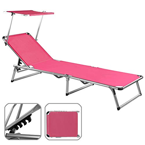 Chaise longue avec pare soleil pliante aluminium Transat pliable Parasol ROSE 190x67 cm