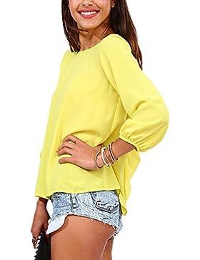Qitun Mujer Tamaño Grande Borla Color Sólido Bowknot Gasa Tops Camiseta Casual Blusa