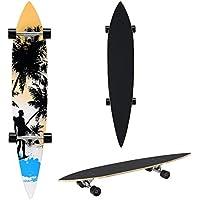 [pro.tec] Monopatín Longboard para el cruising en la ciudad y el parque - 116x22x12cm - Skateboard (negro, naranja, azul con surfista)