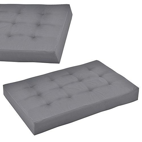 [en.casa]®] 1x cojín de Asiento para sofá de palés [Gris Claro] cojín de europalé tapizado para Interior/Exterior