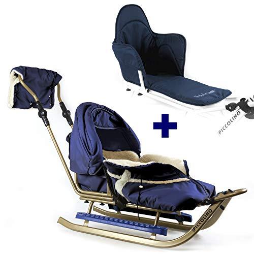 Kinderschlitten Babyschlitten Piccolino Gold Granatblau (Komfort + Sitzpolster)