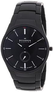 Reloj Skagen 924XLBXB de cuarzo para hombre, correa de acero inoxidable chapado color negro de Skagen
