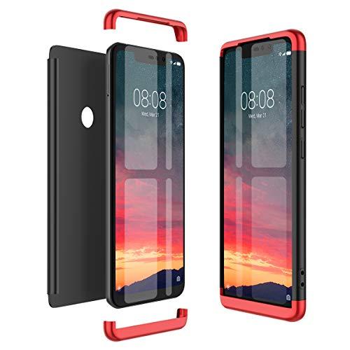 Winhoo Kompatibel mit Xiaomi Redmi Note 6 Pro Hülle Hardcase 3 in 1 Handyhülle 360 Grad Schutz Ultra Dünn Slim Hard Full Body Case Cover Backcover Schutzhülle Bumper - Schwarz + Rot