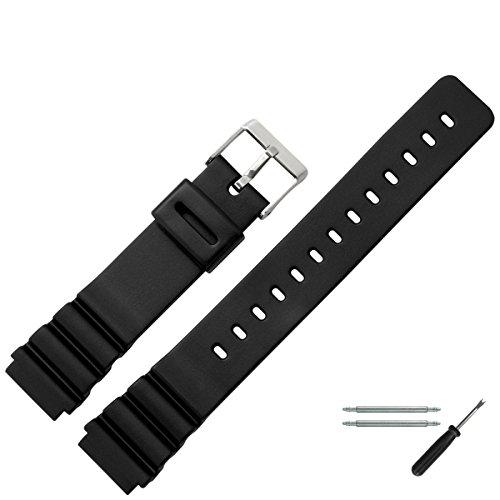 MARBURGER Unisex Uhrenarmband 18mm Kunststoff Schwarz - Ersatzarmband, Schließe Silber - 9601870300520 -