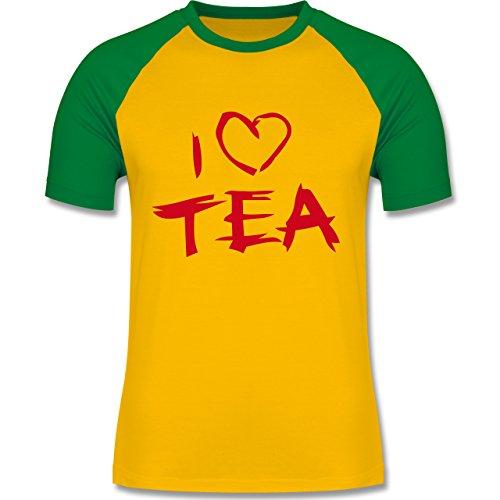Küche - I Love Tea - zweifarbiges Baseballshirt für Männer Gelb/Grün