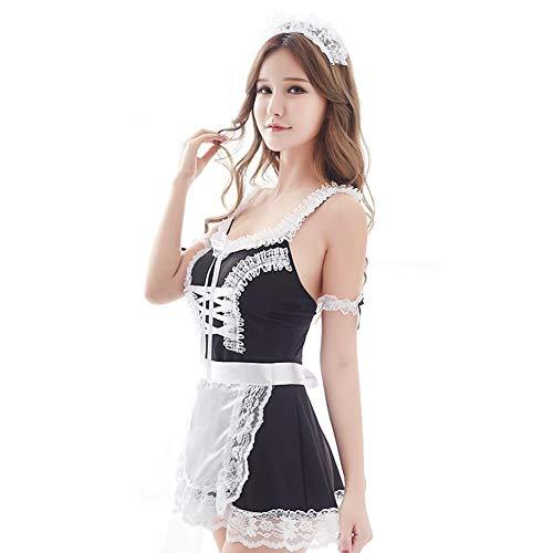 CJC Sexy Unterwäsche Schwarz Französisch Schürze Maid Diener Lolita Kostüm Kleid Uniform (Farbe : SCHWARZ, größe : One Size) (Hot Französisch Maid Kostüme)
