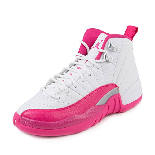 Nike Mädchen Air Jordan 12 Retro GG Basketballschuhe Blanco/Rosa/Plateado (White/Vivid Pink-Mtllc Silver) 37 1/2 EU -