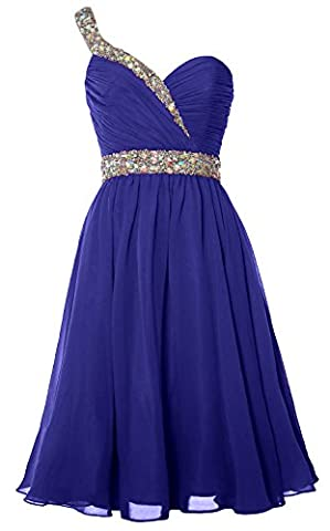 MACloth Women One Shoulder Crystal Chiffon Short Prom Gown Cocktail Party Dress (EU34, Royal Blue)