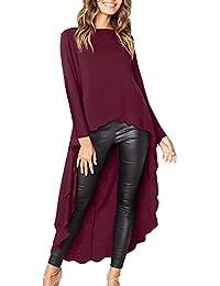 kenoce Blusen Langarmshirt Damen Hemd Lange Asymmetrisch Locker Oberteil Rundhals Shirt Tops Sweatshirt 3 Stile