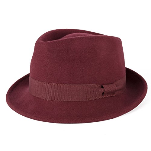 Maroon Grosgrain (Men's Ladies Trilby Hat Plain Hand Made Fine Felt Grosgrain Bow Style Band - Maroon/Red Wine (57/M))