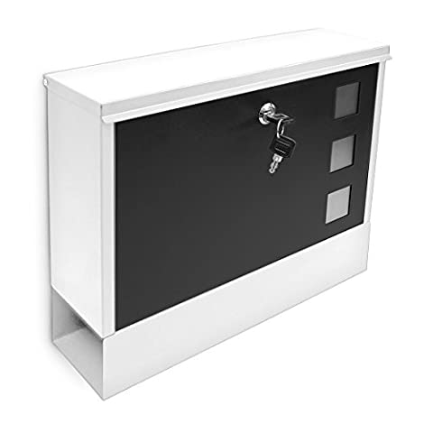 Relaxdays Modern Two Coloured Mailbox Letterbox Lockable with Two Keys and Newspaper Slot, White-Black