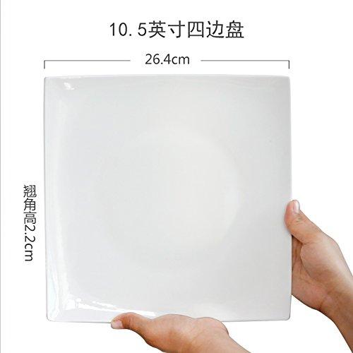 MLGG Plaque Carrée en Porcelaine Blanche Plaque en Céramique, 10,5 Pouces Quatre Chargé
