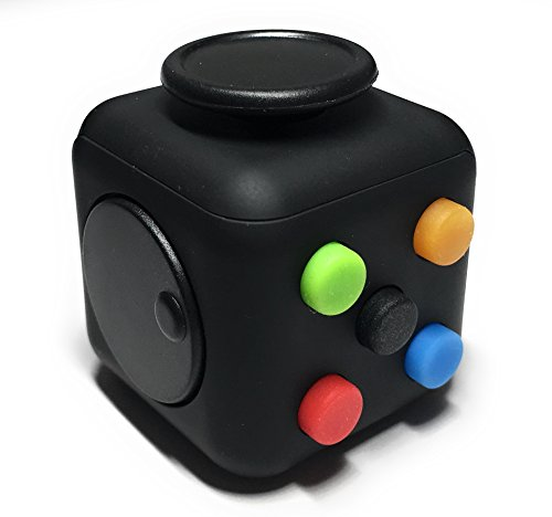 Best Selling Fidget Cube from FidgetPro – Best Rated Fidget Cube on the Market – Premium Quality with Rubber Button and Vinyl Plastic EDC Focus Toy for Kids & Adults on Amazon Guaranteed – Perfect For ADD, ADHD, Anxiety and Stress – 100% Money Back Guarantee – Rainbow on Black – Warehoused and Shipped by Amazon - 2