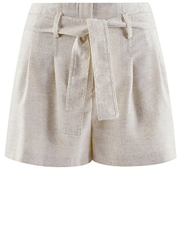 oodji Ultra Damen Sommer-Shorts mit Gürtel Elfenbein (3000M)