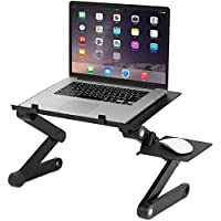McMola Portable Adjustable Laptop, Reading Stand Up/Sitting Table with Mouse Pad, Ergonomics Design- Aluminum, Black, F T8 Table_05