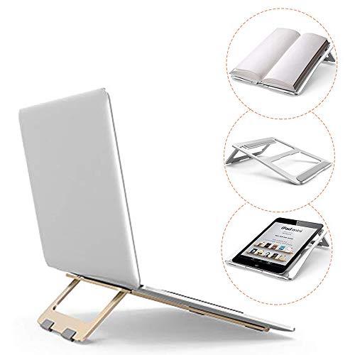 Preisvergleich Produktbild Laptopständer,  tragbarer Laptopständer,  Faltbarer,  Leichter,  belüfteter Laptophalter aus Aluminium mit Anti-Rutsch-Design,  Einstellbarer,  ergonomischer Halter,  Gold