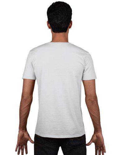 Gildan Herren Soft Style V-Neck T-Shirt White