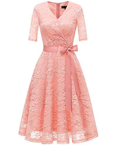 bridesmay Damen Retro Spitzenkleid Knielang Brautjunfern Kleid Festlich Abiball Cocktailkleid Peach...