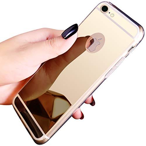 Kompatibel mit iPhone 7/8 Ultradünnen Spiegel Hülle Mirror Case Weiche Schutzhülle Handyhülle Tasche Cover Plating Silikon Schutzhülle Glänzend Slim Handy Gehäuse Hülle,Champagner + EINWEG Verpackung - Einweg-gehäuse
