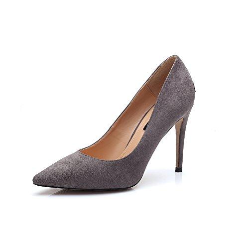 Punta singola di calzature scarpe con i tacchi alti con sottile singola in raso nero scarpe sexy dolceGray