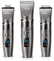 HATTEKER Rechargeable Hair Clippers for Men - Cordless Hair Trimmer with Titanium Ceramic Blade and LED Displa