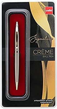 Cello Signature Creme Ivory Ball Pen - Blue | Premium metal pens| smooth writing experience | Ideal for giftin