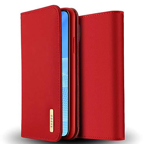 Radoo iPhone XR Echt Ledertasche/Hülle, Luxus Premium Echtes Leder Klapphülle Slim Lederhülle mit Standfunktion TPU Innenraum Case Schlanke Ledertasche Handyhülle für Apple iPhone XR 6.1 Zoll (Rot) -