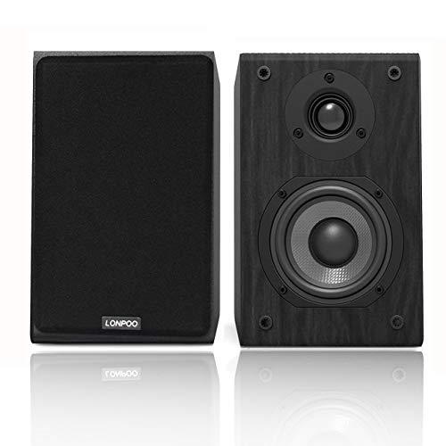 LONPOO Altavoz de estantería pasivos, Hi-Fi Bookshelf Speakers de 2 vías, 75Wx2...