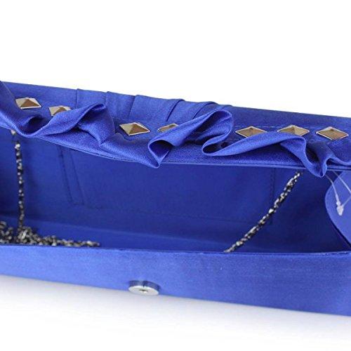 Frauen Satin Plissee Clutch-Bag Brautabschlussball-Abend-Handtasche SapphireBlue