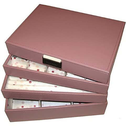 STACKERS Set of 4 'CLASSIC SIZE' – Dusky Pink STACKER Set of 4 Jewellery Box with Pink Polka Dot Lining.