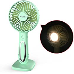XttnBM Small Personal Desk Fan with 3-Speed and LED Lamp Portable Mini Cooling and Light for Outdoor Camping Travel Home Dorm Office Kids Rechargeable Battery Operated or Powered by USB Port (Green)