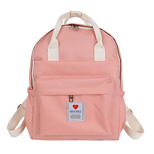 VECOLE Rucksäcke Damen 2019 Neue Einfacher, vielseitiger Rucksack, Neuer Freizeitreiserucksack, Studententasche für den Campus(Rosa)