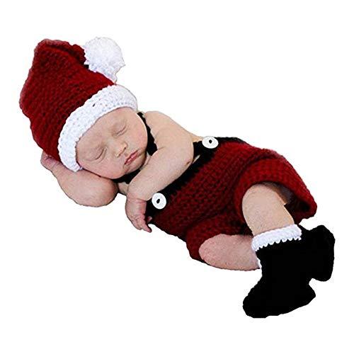 n Santa Rot Elf Hut Kleid Schuhe Stiefel Outfit Set Neugeborenen Fotografie Handgemachte Gestrickte Foto Prop Säugling Weihnachten Kostüm ()