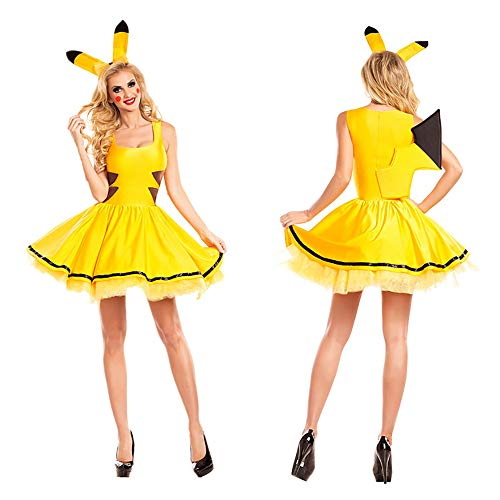 HJG Pikachu Kostüm Cosplay mit Pikachu Ohren und Stirnband, Adult Baby Onesie Fance Dress Halloween-Kostüme für Frauen,L