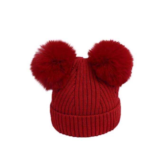 URSING Baby Strickmütze Kinder Mädchen Jungen Warme Stricken Hüte Mützen Wolle kappe Wintermütze Winterhüte Kindermütze…