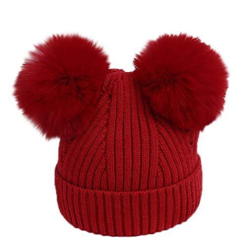 URSING Wintermütze Säugling Baby Mädchen Jungen Häkelstrick Winter Warm Faux Pelz Ball Hut Mütze Kappe Super Gemütlich Einfarbig Pelzkugel gestrickt Hüte & Mützen Kindermützen (Rot-) - Mütze Baby Rote