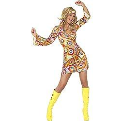 Smiffys 34060 Déguisement Hippie Années 60, Robe et Bandeau, 60's Groovy Baby, Serious Fun, Femme, Multicolore, S (36-38 EU)