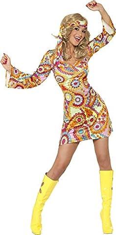 1960er Hippie Damenkostüm Mehrfarbig mit Kleid und Haarband, Small