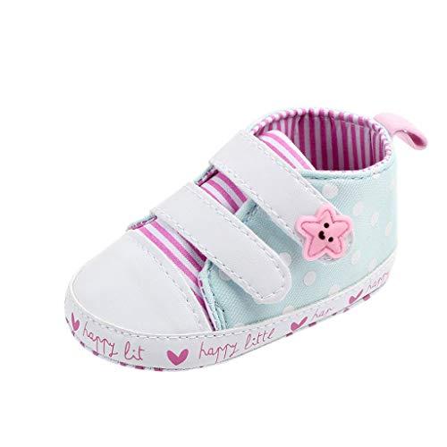 Chihop Scarpe Primi Passi Sneaker Neonato Scarpe Bambino Fila Scarpe Bambino Scarpette Antiscivolo per Scarpe Strisce Star DOT Canvas Primo Camminatore Suola Morbida