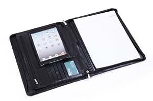 iCarryAlls Portfolio Executive En Cuir Véritable Pour iPad Mini Et Papier A4, Noir