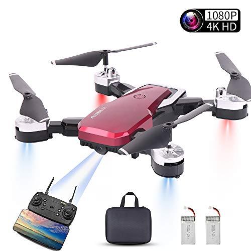 Mini Drohne, Faltbare Drohne mit Kamera, 1080P HD 500MP WiFi FPV Live Übertragung ,RC Quadrocopter,App-Steuerung, One Key Start/Landung,Headless Modus,Gestensteuerung, Quick Shot, Live Video (Rot)