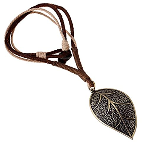 MORE FUN Alloy Leaf Pendant Brown Leather Rope Necklace Vintage Metal Leaves Necklace by MORE FUN