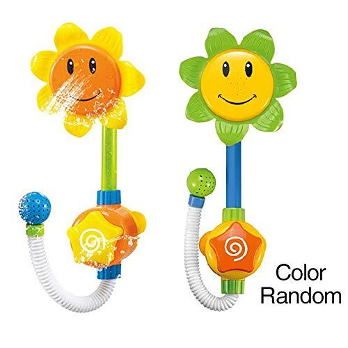 Sel-More 1 PCS Sonnenblumen-Wasserspout betrieben Wasserpumpe mit Hand Dusche sprüht Baby Bad-Spielzeug
