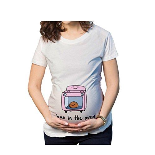 Yvonnelee Witzige Süße Schwangere Maternity Damen Umstandsmode T-Shirts mit Mutterschafts-Niedliche lustige Slogan Motiv Schwangerschaft Geschenk Kurzarm S