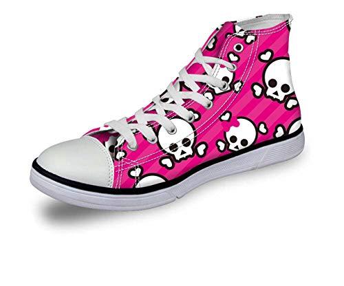 Halloween Skull Women Girls Hi Tops Canvas Flat Lace Up Plimsolls Trainers Shoes C0754AK Cute UK 8 = EU 41