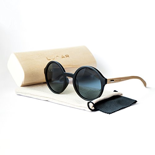 Lunar - Bambus Sonnenbrille Holz Sonnenbrille hölzerne Sonnenbrille Holzbrillen im Set mit Box,...
